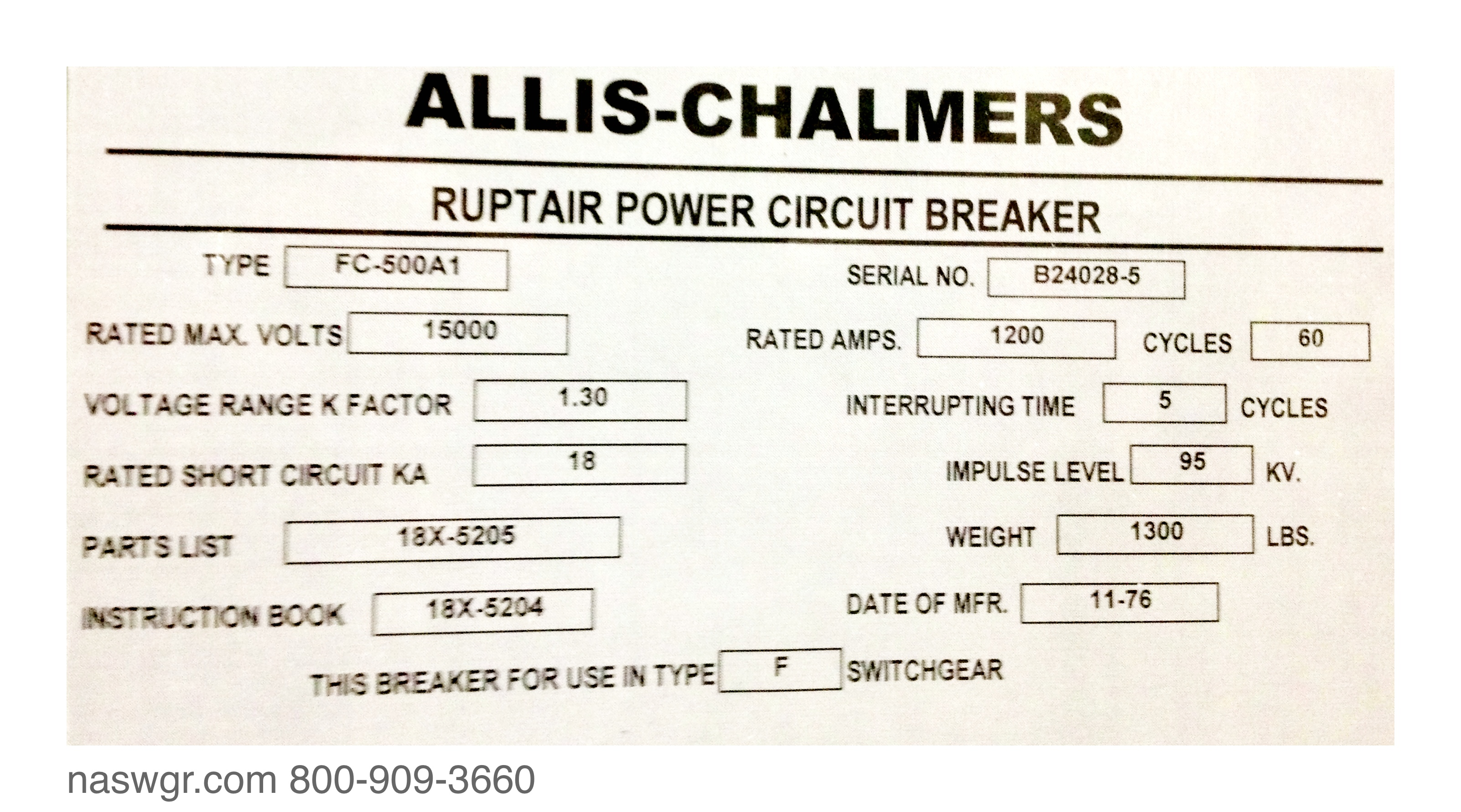 Allis Chalmers Wiring Diagram Breakers Schematics Data For B Fc 500a1 Circuit Breaker Se 515 2 Mechanism 18x 5205 5204 One Wire Alternator