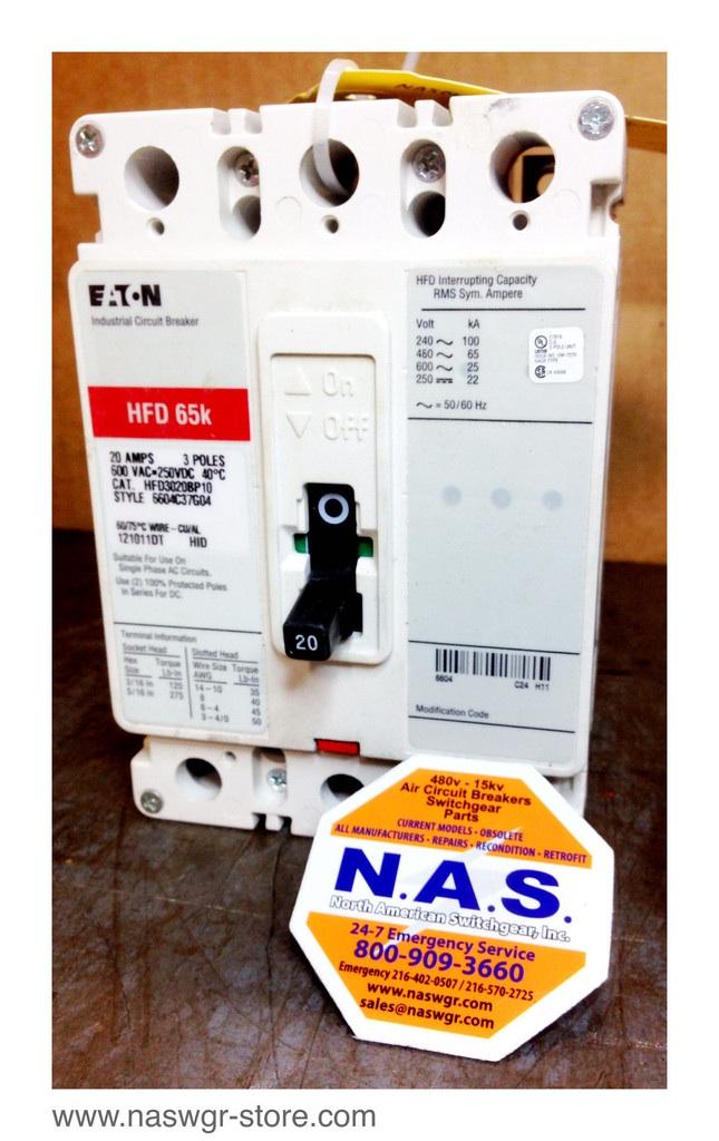Cutler Hammer HFD3020BP10 NEW Eaton Molded Case Circuit Breaker; 20 Amp