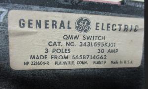 GE QMW 343L695KJG1 30A
