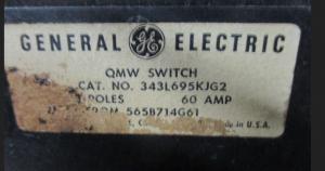 GE QMW 343L695KJG2 60A NP