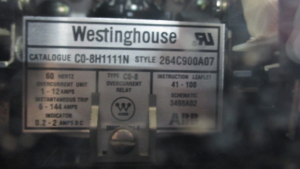 WESTINGHOUSE CO8H1111N STYLE 264C900A07 NP