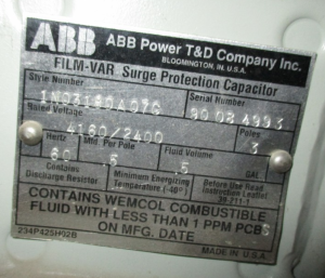 Abb surge capacitor 3pole 4160 2400 .5Mfd per pole np