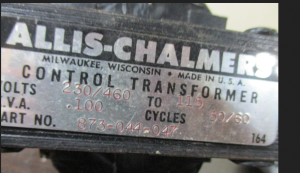 Allis Chalmers control transformer 873-044-047 .100 kva 230 460-115
