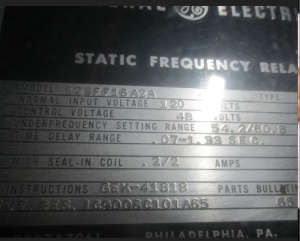 GE SFF Static Frequency Relay model 12SFF16A2A np