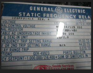 GE SFF Static Frequency Relay model 12SFF31A1A np