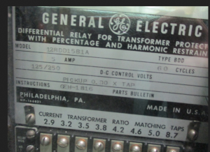 GE Type BDD DIFFERENTIAL RELAY FOR TRANSFORMER PROTECTION AND HARMONIC RESTRAINT Model 12BDD15B1A np