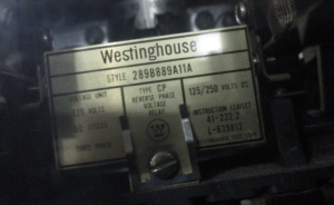 Westinghouse CP Reverse Phase Voltage Relay 289B889A11A np