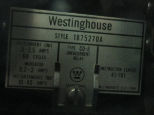 westinghouse CO 8 overcurrent Relay style 1875270A np