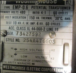 westinghouse EMP 0 6 Potential Transformer 480v 4to1 Ratio np