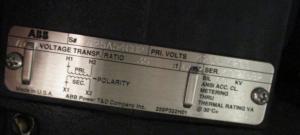 ABB Voltage Transformer 4200Primary Ratio 35-1 np