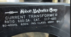 Abbott Magnetics Doughnut Current Transformer 600-5 np