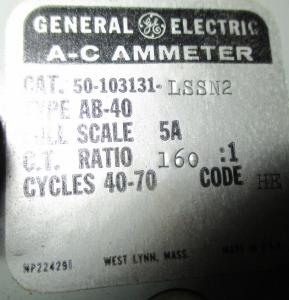 GE 800Amp Meter AB-40 Model 50-103131LSSN2 np