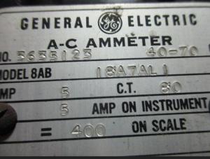 GE Amp Meter Model 8AB 18A7ALI np
