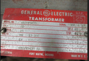 GE CPT 9T28Y5435 25KVA 13,300-120 240 NP