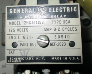 GE HGA model 12HGA11J52 np