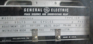 GE Type ICR Phase Sequence and Undervoltage Relay 12ICR53A1A np
