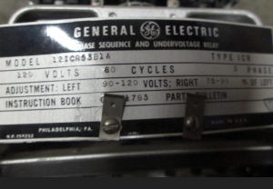 GE Type ICR Phase Sequence and Undervoltage Relay 12ICR53B1A np