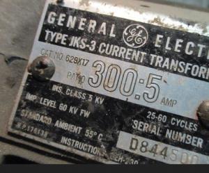 GE Type JKS-3 Cat 629X17 300-5 inline CT np