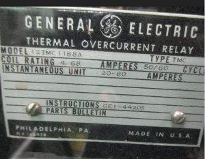 GE type TMC Thermal Overcurrent Relay np