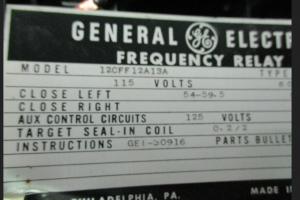 GGE Type CFF Frequency Relay Model 12CFF12A13A np