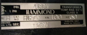 Hammond Type H cat HG7J 480-120 Transformer np