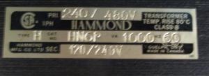 Hammond Type H cat HN6P 240 480-120 240 Transformer np