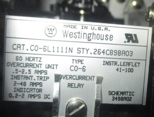Westinghouse CO-6 Style 264C898A03 Overcurrent relay np