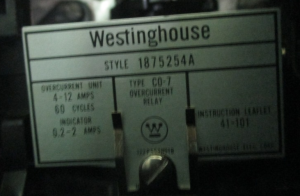 Westinghouse CO-7 Overcurrent Relay Style 1875254A np