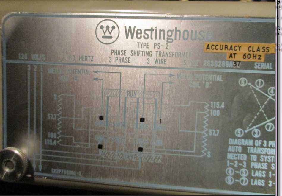 Westinghouse Type PS-2 Phase Shifting Transformer Style 293B289A37 on