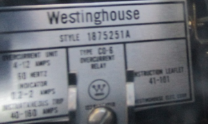 Westinghouse Type CO-6 overcurrent Relay Style 187251A np