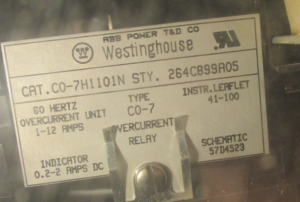 Westinghouse Type CO-7 Overcurrent Relay Cat# CO-7H1102N Style 264C899A05
