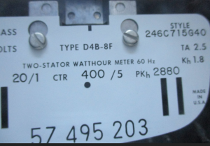 Westinghouse Type D4B-8F Two Stator Watthour Meter Style 246C715G40 np